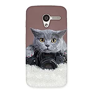 Stylish Kitty Photographer Multicolor Back Case Cover for Moto X