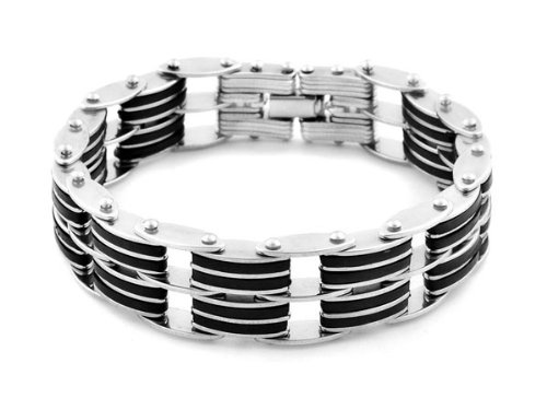 Men's Stainless Steel Black Rubber Double Row Biker Bracelet 8.7