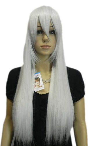 Qiyun Grey Silver Long Straight Cosplay Costume Synthetic Hair Full Wig