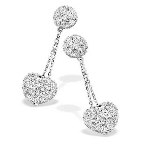 Celebrity Inspired C.Z. Diamond Heart Dangling Earrings (Nice Holiday Gift, Special Black Firday Sale)