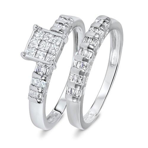 Cheapest 3/4 CT. T.W. Princess, Baguette Cut Diamond Women's Bridal Wedding Ring Set 10K White Gold- Size 7