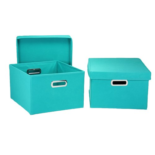 Household Essentials Fabric Storage Boxes with Lids and Handles, Aqua, Set of 2 (Household Essentials Bin Blue compare prices)