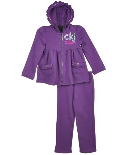 Calvin Klein Little Girls' Hoody With Pull On Pants, Purple, 3T front-726606
