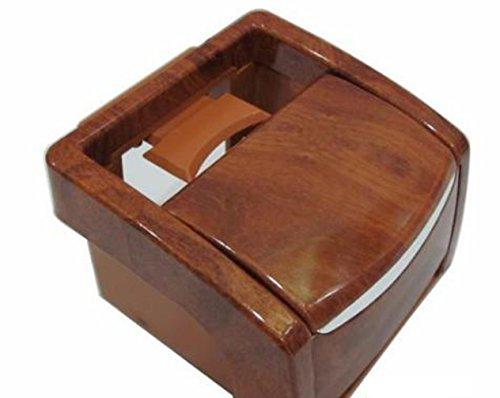 JapaNice 車載灰皿 たばこ 一発 火消口 スライド式 小物入れ ドリンクホルダー USBシガーソケット 1個付き 茶色(ブラウン)木目調