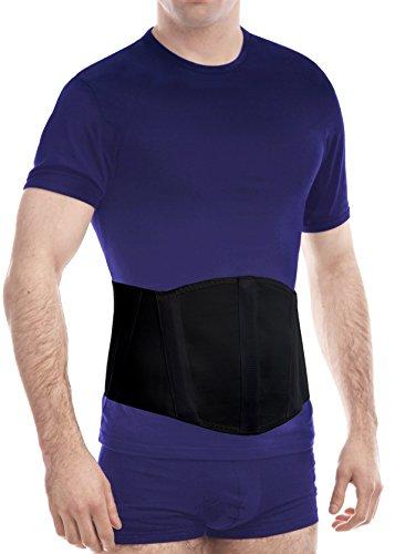 "Ergonomic Umbilical Navel Hernia Belt / Abdomonal Support Brace - Black, X-Small, Waist/Belly 31½"" - 35½"""