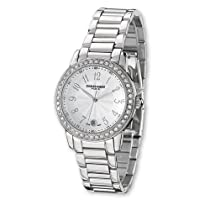 Ladies Charles Hubert Stainless Steel Band Silver White Dial Watch