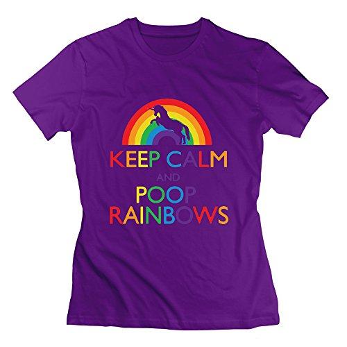 "XJ-, motivo: scritta in inglese ""Keep Clam And Poop-Maglietta a maniche corte, colore: viola viola M"