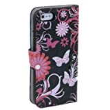 (TRAIT) Black Back Butterfly PU Leather Wallet Cases Protective Skin Protector Covers for iphone 5 5s Flip Case Folio Cover Stand Holder with Card Port