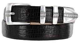 Brandon Italian Calfskin Leather Designer Dress Golf Belt for Men (48, Lizard Black)