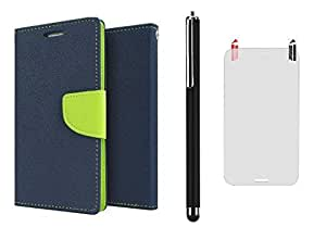 D'clair Combo of Flip Cover with Clear Screen Guard and Stylus for Samsung Galaxy S3 Blue Green