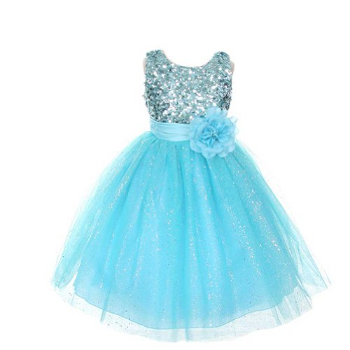 Rain Kids Girls 2T Aqua Sequin Sleeveless Tulle Pageant Dress front-628137