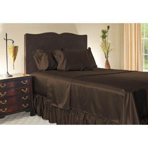 Luxury Twin Size Satin Flat Sheet - Brown front-896387