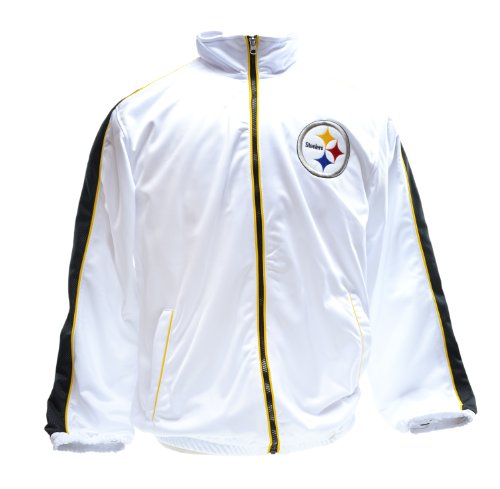 G-III Pittsburgh Steelers Blitz Men's Track Jacket White/Black/Yellow la300221-pis (Size L) at Amazon.com