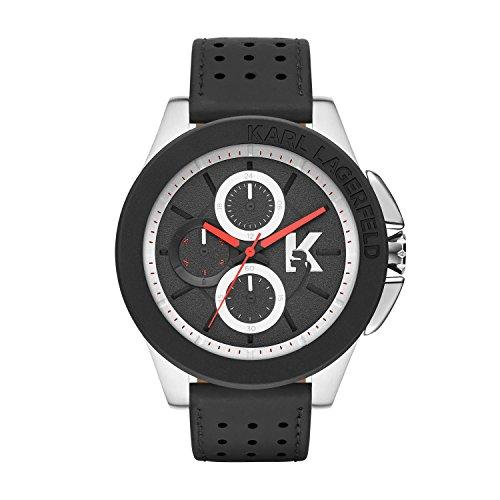 Karl Lagerfeld  - Reloj de cuarzo para hombre, correa de cuero color negro