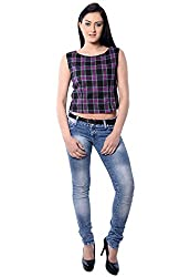 iamme Black check crop top with round neck & sleeveless and round Neck