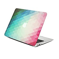 Unik Case-2 in 1 Bundle Deal Gradient Ombre Triangular Galore Graphic Matte Rubberized Hard Shell Case & Black Keyboard cover silicon skin for Apple Macbook Air 13.3