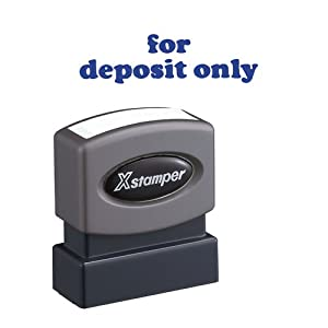 Xstamper One-Color Title Message Stamp, For Deposit Only, Pre-Inked/Re-Inkable, Blue (1333)