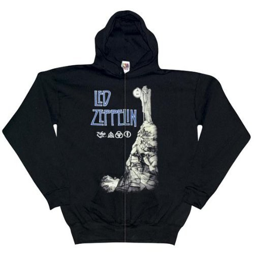 Old Glory Mens Led Zeppelin - Man With Lantern Zip Hoodie - X-Large Black