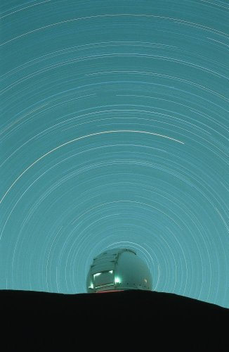 Nobody Wall Decals Canada-France-Hawaii Telescope With Star Trails - 72 Inches X 47 Inches - Peel And Stick Removable Graphic