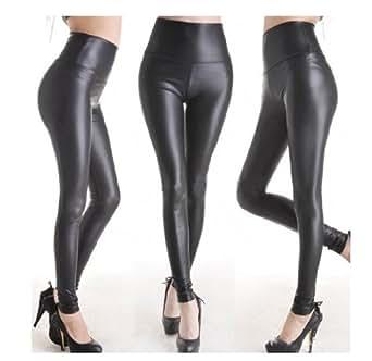 Jntworld Sexy Faux Leather High Waisted Leggings (XXXL, matt black)