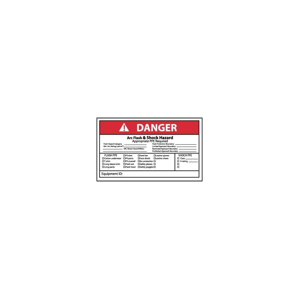 Labels   Danger, Arc Flash & Shock Hazard, 3X5, Adhesive Vinyl, 5/Pk