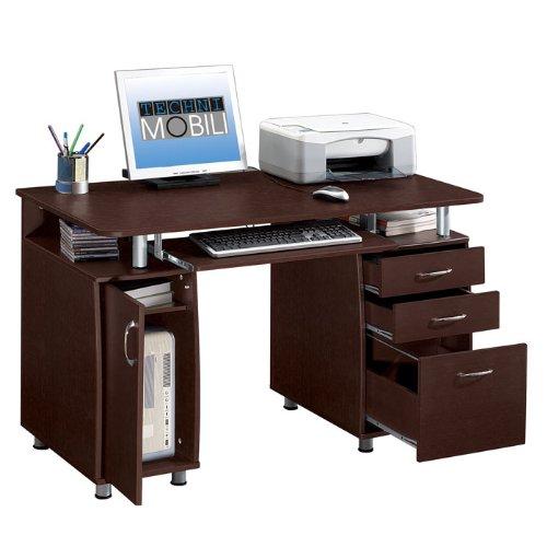 Buy Low Price Comfortable Double Pedestal Storage Computer Desk (Chocolate) (30″H x 48″W x 24″D) (B003R3VS30)