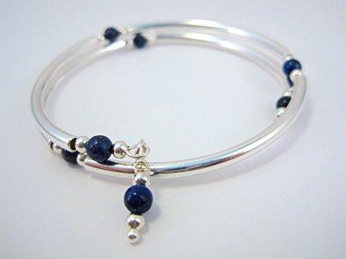 Lapis Lazuli Silver Metal Memory Wire Wrap Bracelet by Arts Paradis