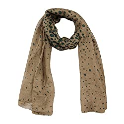 FabSeasons Green Dotted Cotton Unisex Printed Scarf, Scarves, Stole and Shawl for Men & Women