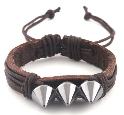 Brown with Dark Silver Three Spikes String Adjustable Stretch Bracelet