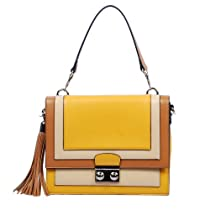 Hot Sale Box Shaped Color Block Tote Satchel Handbag Purse, Yellow