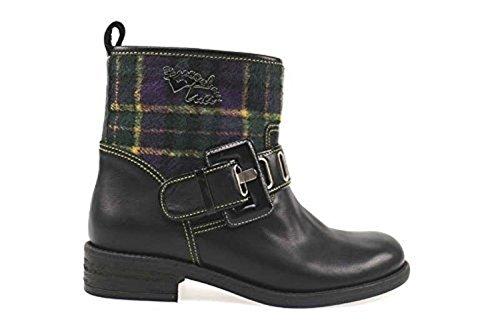scarpe donna BRACCIALINI 38 stivaletti nero viola pelle tessuto AN45-C