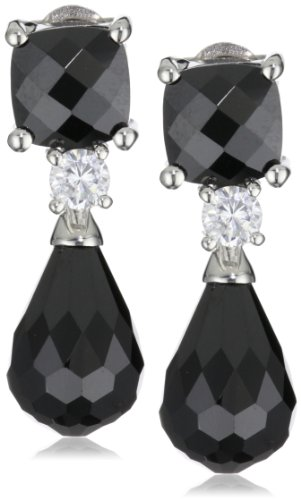 Giorgio Martello Sterling Silver Rhodium Plated Black and White Cubic Zirconium Earrings