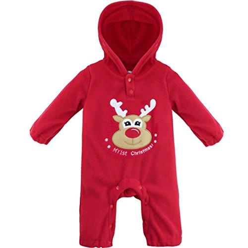 YiZYiF Baby Boys' Girls' Halloween Bodysuits Long Sleeve Hooded Rompers (3-6 Months, Reindeer)