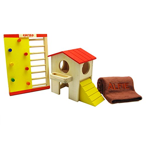 Alfie Pet Small Animal Hideout - Gari Wood Hut (Medium) And Jami Wooden Playgym With Microfiber Fast-Dry Washcloth (Living Habitat And Toy For Dwarf Hamster And Mouse) front-941676