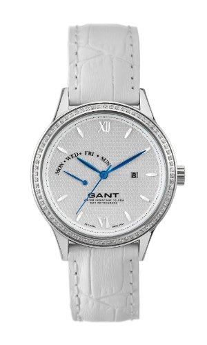 Gant Watches - Reloj analógico de cuarzo para hombre con correa de piel, color blanco