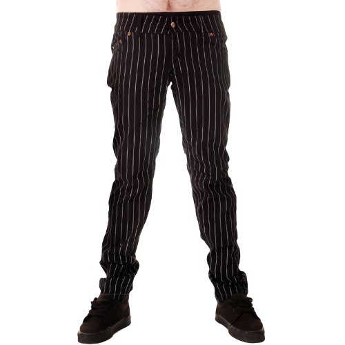 Mens Drainpipe Jeans Pinstripe Punk Rock Glam Indie Retro Vintage Goth Office (30)