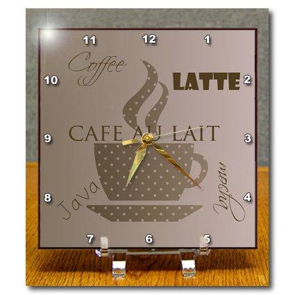 Dc_110358_1 Ps Creations - Café Au Lai Coffee Cocoa Brown Art - Desk Clocks - 6X6 Desk Clock