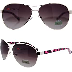 Silver & Black - Fashion Women Aviator Sunglasses FREE POUCH 9302
