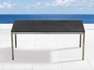 Granit edelstahltisch 180cm gartentisch tisch for Gartentisch granitplatte