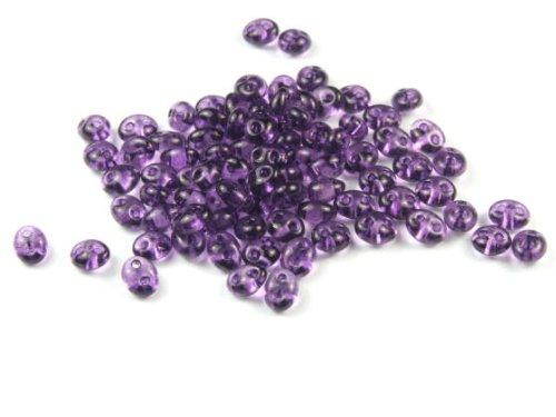 10 Gramm Preciosa Twin Beads, 4x2,5 mm, violett