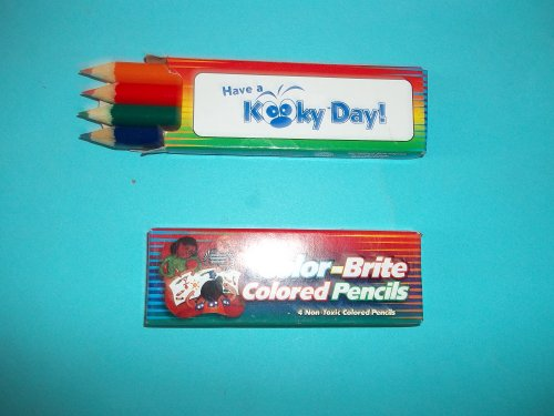 Color Brite Colored Pencils Non Toxic Set of 4 Colors One Each Green Blue Red Orange 3 1/2