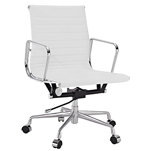 Manhattan Comfort Metro Mid-Back Adjustable Office Chair (WHITE)