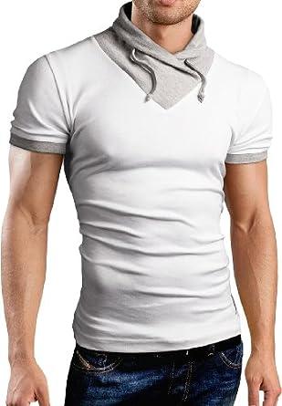 Grin&Bear Slim Fit pull, sweat shirt col châle, manches courtes, blanc, M, BH111