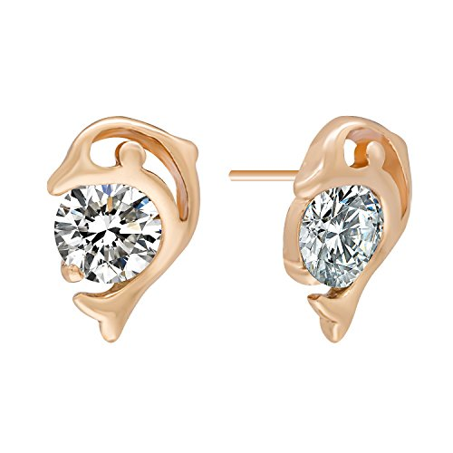 Romantic Time Dolphin Lover Zirconia Ball 18k Rose Gold Plated Charming Stud Earrings