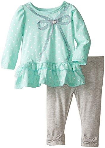Watch Me Grow! by Sesame Street Baby-Girls Newborn 2 Piece Bow Design Shirt and Pant, Green, 3-6 Months