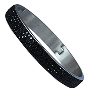 Hinged Bangle: with 4 Rows of Beautiful Sparkly Crystals - Black - 10mm in width
