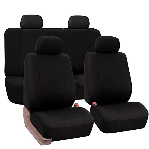 FH Group Universal Fit Full Set Flat Cloth Fabric Car Seat Cover, (Black) (FH-FB050114, Fit Most Car, Truck, Suv, or Van) (Amazon Groups compare prices)