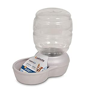 Petmate Replenish Pet Waterer with Microban, 1-Gallon, Pearl White