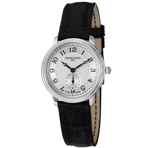 Frederique Constant Women's FC-235AS1S6 Slim Line Black Leather Strap Watch