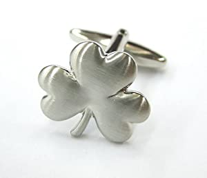 Lucky Shiny Silver Three Leaf Clover Cufflinks Cuff Links